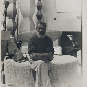 Brâncuși photographed in his workshop. The artist bequeathed part of his collection to the French state on condition that his workshop be rebuilt as it was on the day he died. This reconstruction of his studio, adjacent to the Pompidou Centre in Paris, is open to the public.