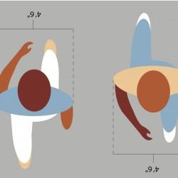 """Crosswalk rendering of """"Walking Figures"""" concept design by artist ROADSWORTH."""
