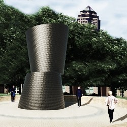 """Rendering of propose public art project """"A Monumental Journey"""" at Hansen Triangle Park, Des Moines, Iowa."""