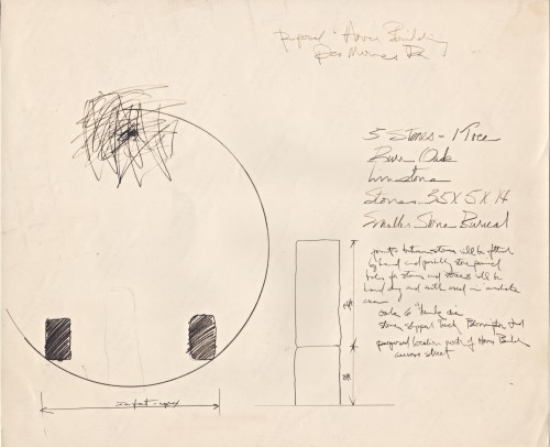 Artist proposal drawing for the Hover Building, illustrating the approximately 22-feet diameter encompassing the tree and stones.