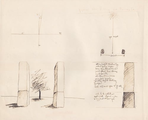 Proposal drawing with artist's notes describing the stones' height and proportions.