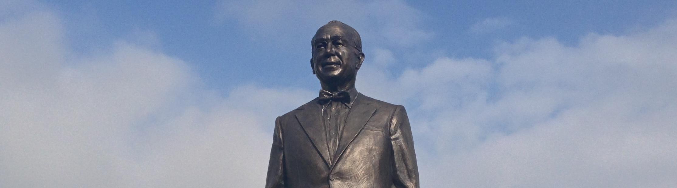 Detail of bronze sculpture of John Ruan, Sr.