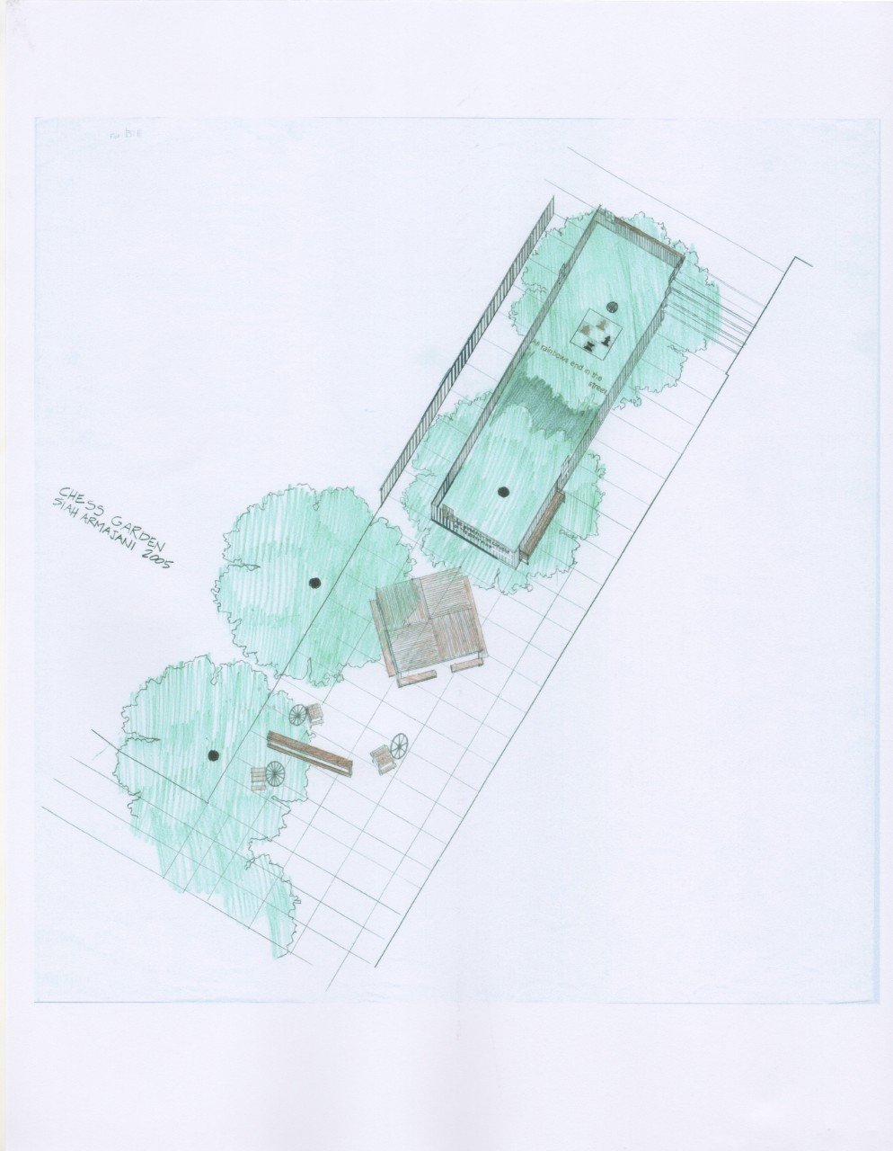 Drawing of Chess Garden, 2005, by Siah Armajani