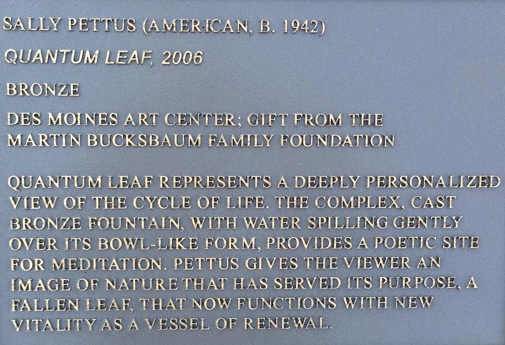 """Bronze sign at the site of """"Quantum Leaf"""""""