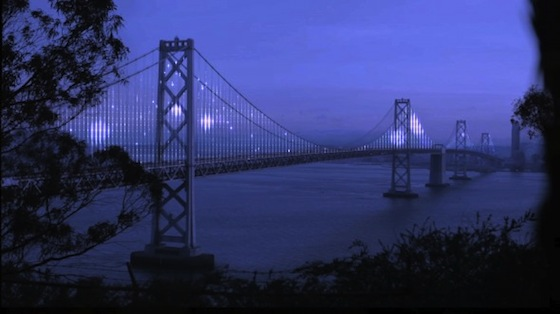 """An artist rendering of The Bay Lights by New York-based light artist Leo Villareal. Villareal has done extensive work with sophisticated computer-generated light imagery around the world. """"The Bay Lights"""" is an ambitious light installation on the western span of the San Francisco–Oakland Bay Bridge, scheduled to open March 2013. """"The Bay Lights"""" will illuminate the bay from dusk to midnight and will be visible from San Francisco, but will not to drivers on the bridge. For this project, Villareal is using software that enables the creation of unique lighting patterns. Since every LED bulb can be controlled independently, he will program complex algorithms that reflect the patterns of wind, water, and the natural environment of the Bay. (Courtesy of Leo Villareal)"""