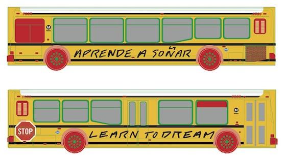 Learn to Dream bus by John Baldessari (2013)