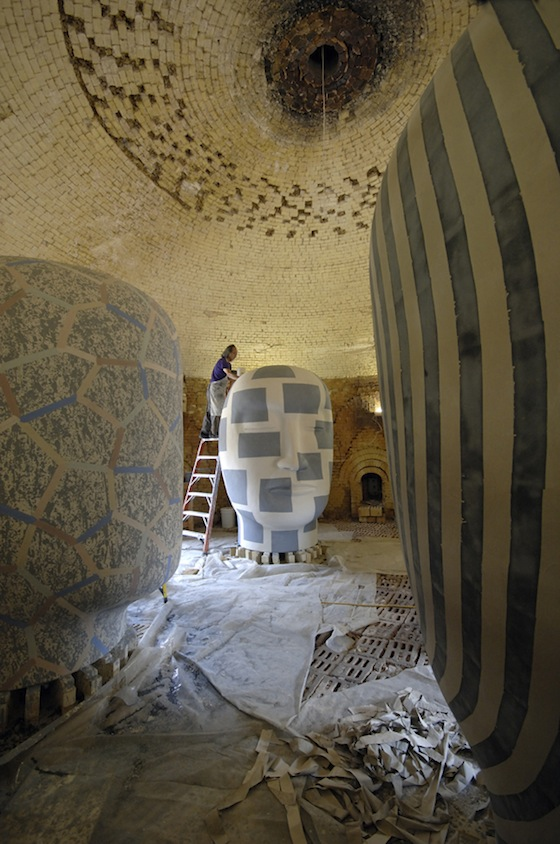 """Jun Kaneko titles his monolithic, hollow-cast sculpture, """"Dangos"""" (dumplings in Japanese). Art critic Arthur Danto has described Kaneko's dangos as """"an extraordinary creation, inasmuch as it combines monumentality with warmth and a kind of emotional lightness."""""""
