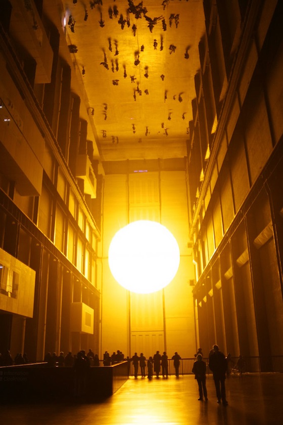 Olafur Eliasson created a giant sun using mirrors, light and mist for The Weather Project, which he said was the basis for exploring ideas about experience and mediation.