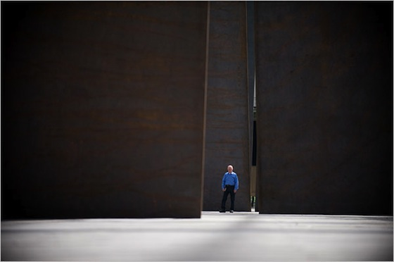 "Richard Serra (pictured with ""Promenade"") wants people to experience the art in a particular time and setting: ""It's about apprehension, how you apprehend the space and the piece,"" he said. ""It's part of the experience of walking around the space in which the art appears — you implicate yourself in the space, and the experience is in you, not in the frame or on the wall."""