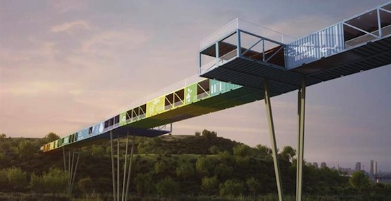 Called the Ecocontainer Bridge, the plans have been put in place by Yoav Messer Architects, an Israeli firm that focuses on bio-friendly constructions. The project seeks to cut down on the 800,000-plus shipping containers that are thrown out each year.