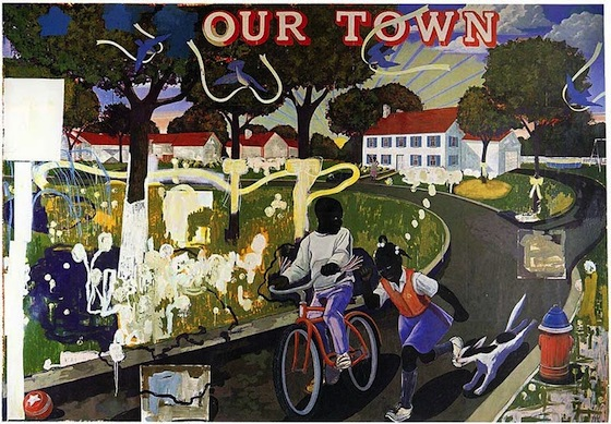 Kerry James Marshall Our Town, 1995, acrylic and collage on canvas overall: 254 x 314.96 cm (100 x 124 in.)  Collection of Crystal Bridges Museum of American Art, Bentonville, Arkansas