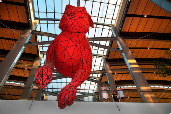 "More than a dozen major public art pieces were commissioned for Sacramento International Airport's (SMF) new Central Terminal B in 2011. However, Lawrence Argent's 56-foot-long, aluminum red rabbit sculpture, titled ""Leap,"" grabs the most attention. Frozen mid-jump in the Ticket Hall, the rabbit appears to be headed towards a hole in the giant suitcase on the floor below."