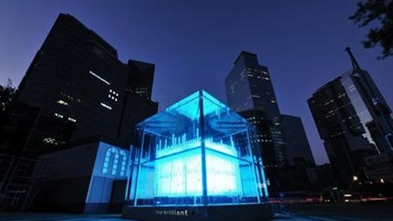 "Comprised of 576 clear LED poles that move up and down, the 36-square-meter matrix, named ""Brilliant Cube,"" continuously flashes hypnotic, colorful patterns and images in one of the most crowded -- and now famous -- areas of Seoul."