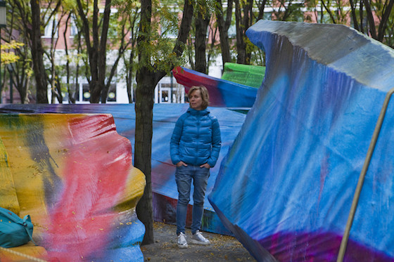 """Just Two of Us"" project brings the artist's bright, jagged brushstrokes to life, intertwining the colorful forms with the green space of Brooklyn's MetroTech Center's wooded commons."