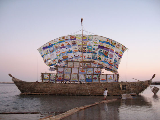 The Ship of Tolerance, a series of installations by Ilya and Emilia Kabakov, was first launched in 2005 on a saltwater lake in the Siwa Oasis in Egypt.