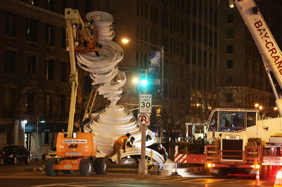 """Cyclone Twist,"" an Alice Aycock public art installation, being assembled along Park Avenue., New York City. Photo credit: Richard Perry, The New York Times"