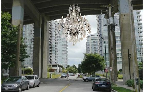 Created by renowned artist Rodney Graham, the faux-crystal, 18th century chandelier will be installed under the Granville Street Bridge, which leads in and out of the city's downtown core.