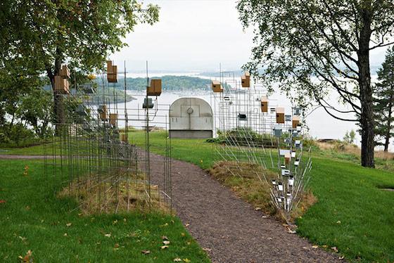 Sarah Sze, Still Life With Landscape (foreground) and Per Inge Bjørlo, Indre Rom VI - Livsløpet (background). Photograph: Ivar Kvaa