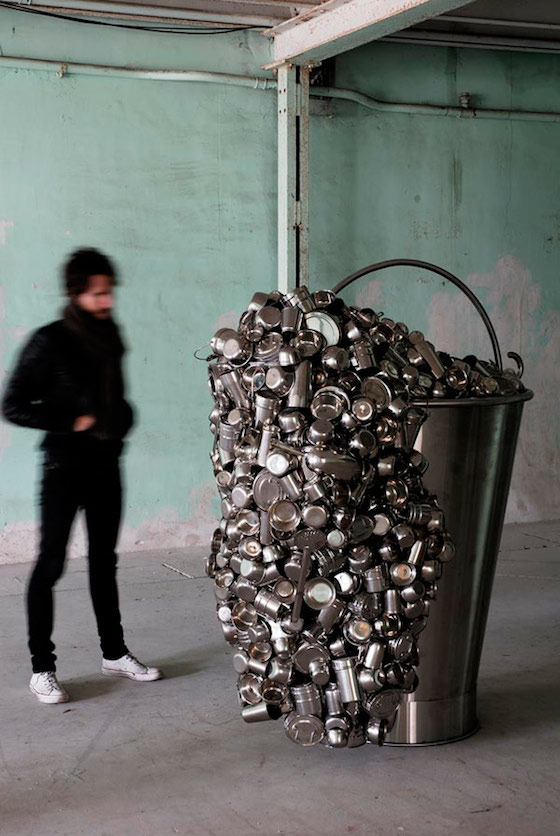 Subodh Gupta, Spill, 2007, Stainless steel and stainless steel utensils, 170 x 145h x 95 cm.