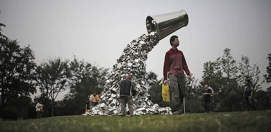 Subodh Gupta's giant sculpture is of a bucket on a rusted metal plinth, with continuously overflowing water. This work comments on the constant usage and wastage of water as a global problem, but specifically in Delhi, where water scarcity is a severe concern and becomes increasingly apparent as water levels drop each year.