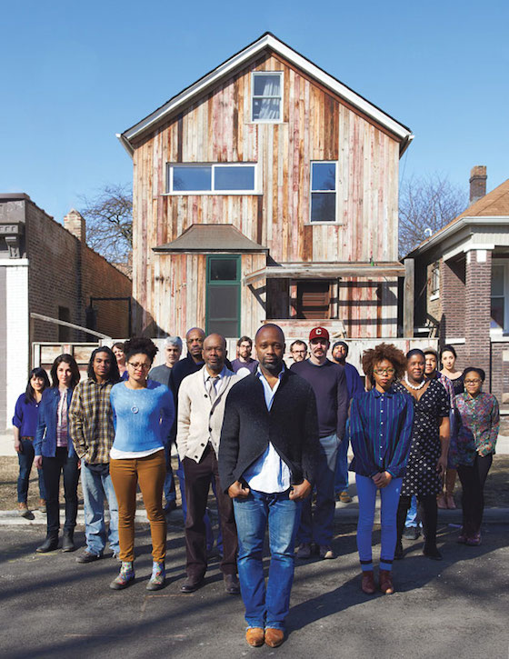 """Theaster Gates (front and center) is part of a generation engaged in what has come to be called """"social practice"""": art that flourishes outside galleries and museums and welcomes all, opening dialogues with those who live beyond its precincts. Encompassing social service, community building, object-making, and real-time discussion around economic inequity, it's social activism through art-making. Though the movement is well established in Europe and South America, it has only recently been on the rise in the United States and, not incidentally, just as the art market has shot to previously unseen levels."""