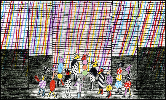 """Magic Flute"" set sketch by Jun Kaneko. (Courtesy of Kaneko Studio/Courtesy of Kaneko Studio)"