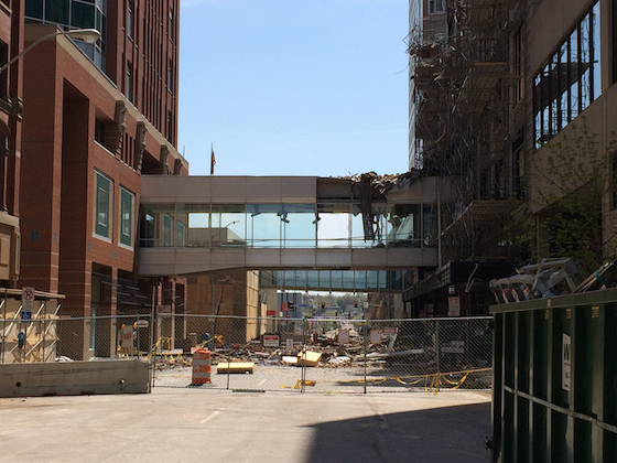 Damaged skywalk in aftermath of March 2014 fire in downtown Des Moines, Iowa.