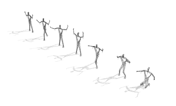 In addition, the pylon-figures can be  arranged to create a sense of place through deliberate expression. Subtle alterations in the hands and head combined with repositioning of the main body parts in the x, y and z-axis, allow for a rich variety of expressions. The pylon-figures can be placed in pairs, walking in the same direction or opposite directions, glancing at each other as they pass by or kneeling respectively, head bowed at a town.