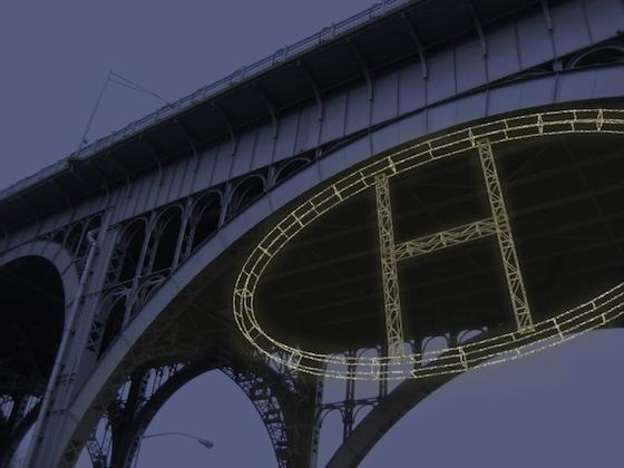 """H"" (Harlem) is a massive steel and light sculpture by Bentley Meeker. It will be installed from the 125th Street viaduct.   ""If you believe what I believe, that the souls are light, then you've got light within you. So if there's a connectivity there, then I guess somebody's got to be the person that starting to really talk about that and that would kind of in a way make me lights muse now wouldn't it?"" the artist says."