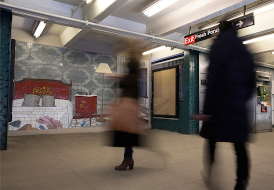 """Commissioned by MTA Arts for Transit & Urban Design, """"Dom (Variations)"""" by artist Laura F. Gibellini progresses from a glass mosaic and photo engraved tile bedroom scene in the Fresh Pond Road Station to laminated glass images of hanging laundry in the Forest Avenue and the Seneca Avenue stations in Queens, NY."""