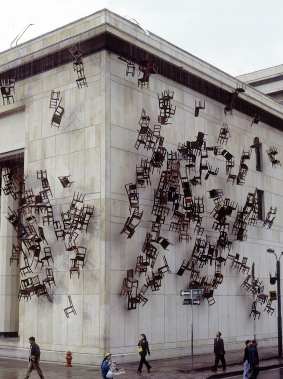 "Doris Salcedo, ""Noviembre 6 y 7,"" 2000. Installation at Palace of Justice, Bogotá, Colombia. Courtesy Alexander and Bonin, New York. © Doris Salcedo."