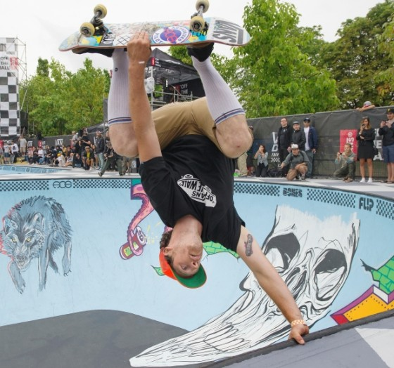 Adam Hopkins of Vancouver competes in the Van Doren Invitational skateboard competition at Hastings Skate Park in Vancouver on Saturday, July 11, 2015. Photograph by: Jenelle Schneider