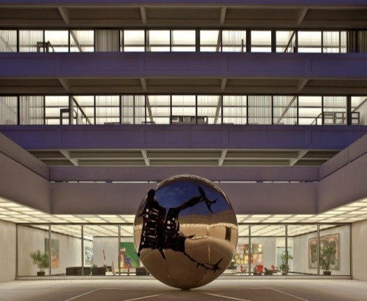 AEG Building and Pomodoro Sphere within a Sphere Sculpture-525px