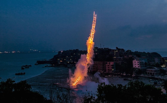 Artist Sends Ladder of Fire into the Sky