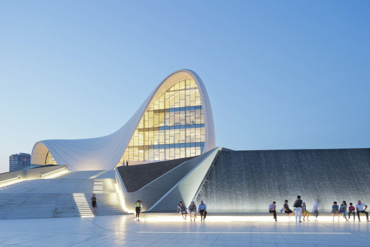 The Heydar Aliyev Center is a 619,000-square-foot building complex in Baku, Azerbaijan designed by Zaha Hadid and noted for her distinctive flowing, curved style that eschews sharp angles.