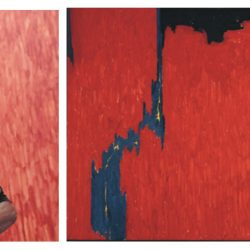 "In Culture Type's online article by Victoria L. Valentine, she wrote that: [pictured above] Mark Bradford connects with the paintings of Clyfford Still, including ""Untitled,"" 1950. 