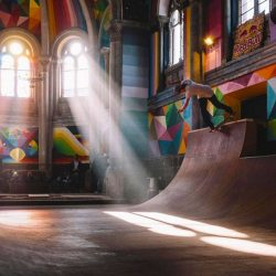 The church, located in Llanera, Asturias, was converted into a skate park by a collective called the Church Brigade. The more than 100-year-old church was turned into a community space with the addition of a skateboard ramp, and became a popular site with local skaters. Photo by Lucho Vidales
